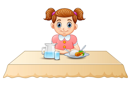 Vector illustration of Cute little girl cartoon eating on dining table Illustration