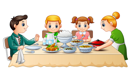 Vector illustration of Happy family eating dinner together on dining table