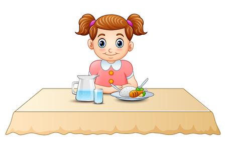 Cute little girl cartoon eating on dining table