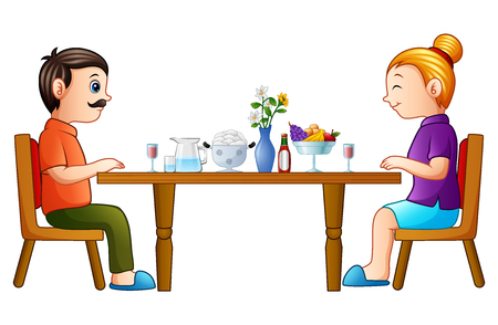 Cartoon happy father and mother eating on dining table
