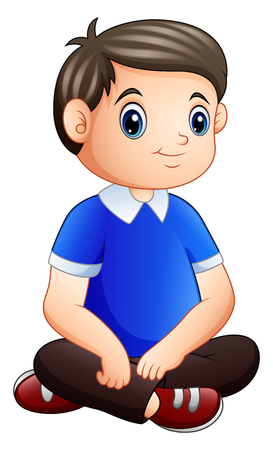 Cartoon happy male sitting on the floor