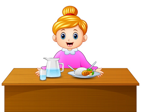 Cartoon happy blonde haired mother and healthy food on dining table