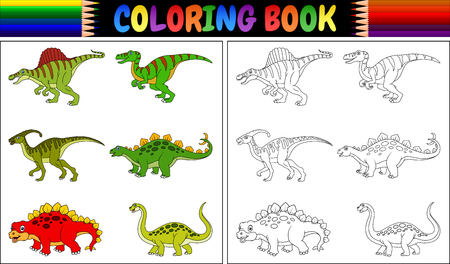 Illustration of coloring book with dinosaur cartoon collection 일러스트
