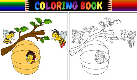 Coloring book cartoon bees vector illustration.