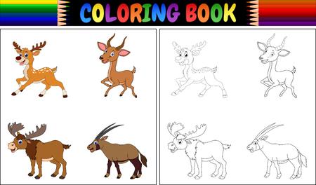 Kleurboek met gehoornde dieren collectie vectorillustratie.