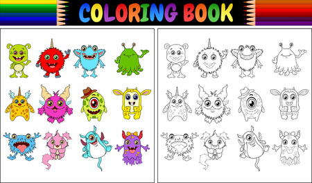 Coloring book with monsters cartoon collection vector illustration. Illustration