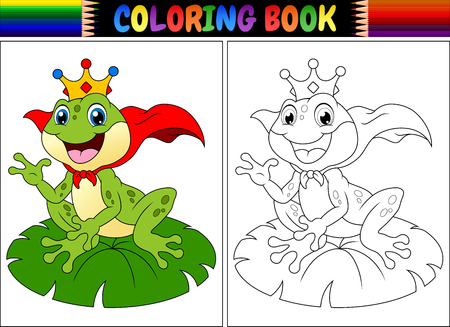 Coloring book king frog cartoon vector illustration.