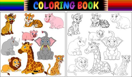 Coloring book with wild animals cartoon Stock Illustratie
