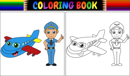 Vector illustration of Coloring book with pilot kid and airplane Çizim