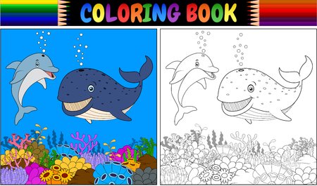 Coloring book with cartoon dolphin and whale vector illustration. Vettoriali
