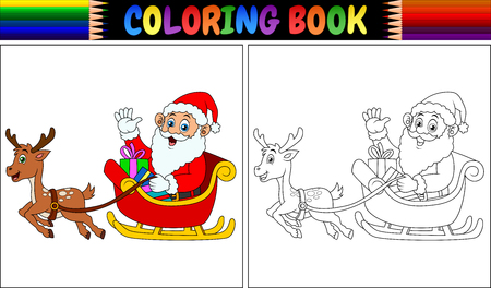 Vector illustration of Coloring book cartoon santa claus riding his reindeer sleigh Illustration