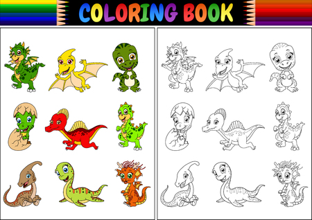 Vector illustration of Coloring book with little dinosaur cartoon collection