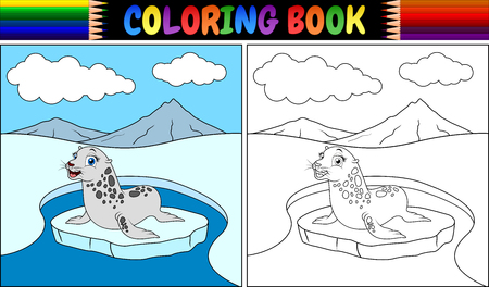 Vectorillustratie van Kleurboek met zeehondenbeeldverhaal Stock Illustratie