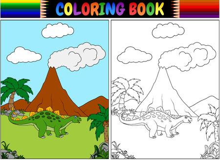 만화 stegosaurus와 색칠하기 책 스톡 콘텐츠