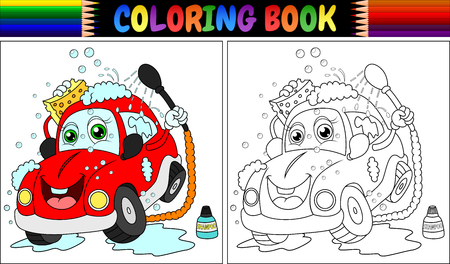 Coloring book with red cartoon car washing Archivio Fotografico