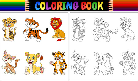 Coloring book with wild cats collection 版權商用圖片
