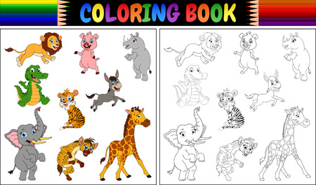 Coloring book with wild animals collection