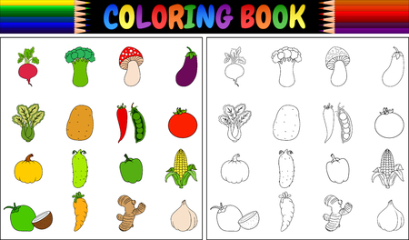 Coloring book with Fresh vegetables cartoon