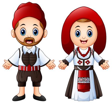 Ilustración vectorial de dibujos animados griegos pareja vistiendo trajes tradicionales