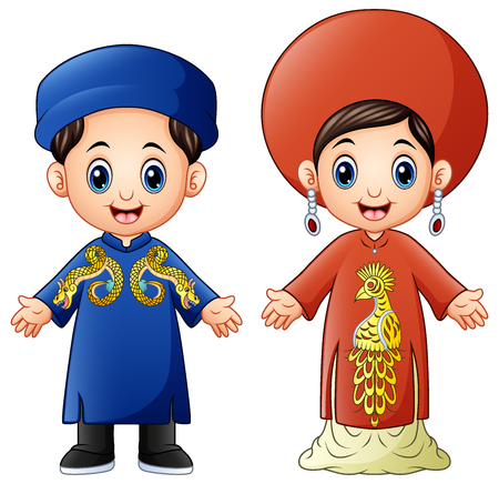 Vector illustration of Cartoon Vietnam couple wearing traditional costumes Çizim