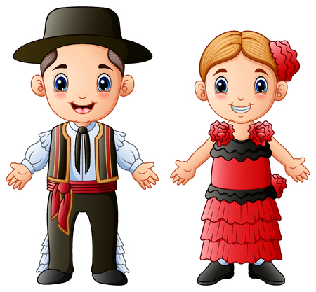 Vector illustration of Cartoon Spanish couple wearing traditional costumes