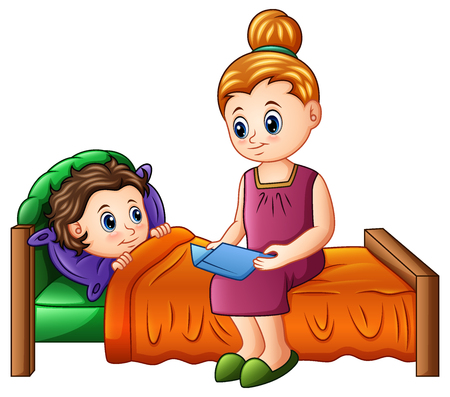Vector illustration of Cartoon mother reading bedtime story to her son before sleeping