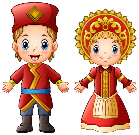 Vector illustration of cartoon Russian couple wearing traditional costumes.