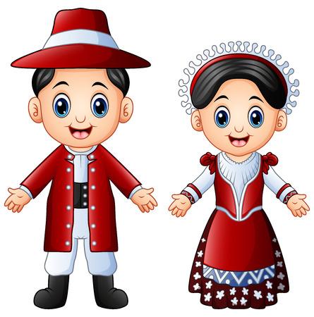 Vector illustration of Cartoon Italian couple wearing traditional costumes Illustration
