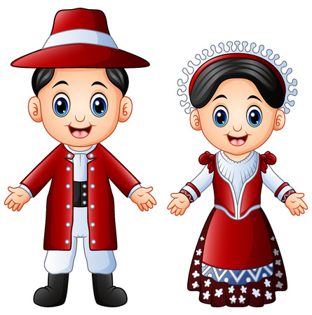 Vector illustration of Cartoon Italian couple wearing traditional costumes Stock Illustratie