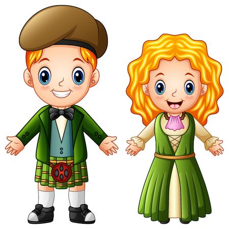 伝統的な衣装を着た漫画アイルランドカップルのベクトルイラスト  イラスト・ベクター素材