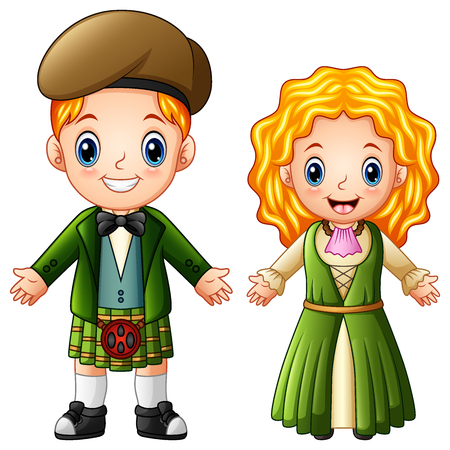 Vector illustration of Cartoon Ireland couple wearing traditional costumes