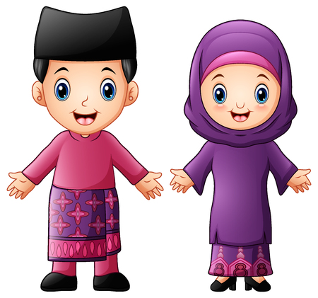 Vector illustration of Cartoon Brunei couple wearing traditional costumes.