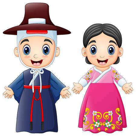 伝統的な衣装を着た漫画韓国のカップルのベクトルイラスト