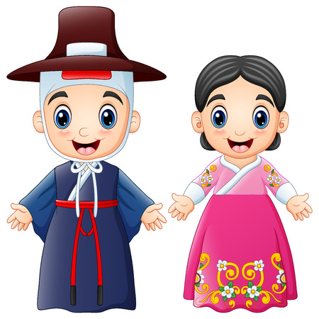 Vector illustration of Cartoon Korean couple wearing traditional costumes Vettoriali