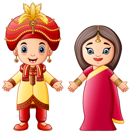 Vector illustration of Cartoon indian couple wearing traditional costumes