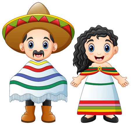 Vector illustration of Cartoon Mexicans couple wearing traditional costumes