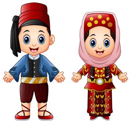 Vector illustration of Cartoon Turkish couple wearing traditional costumes