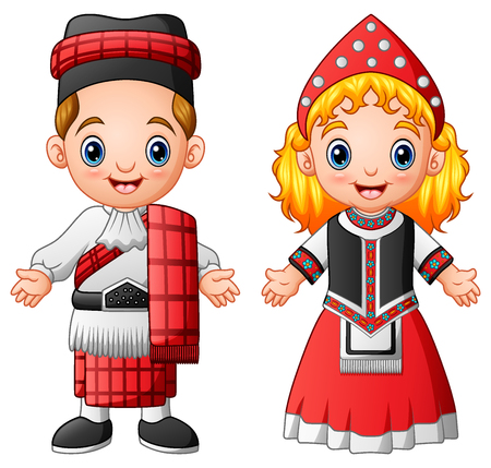 Cartoon scottish couple wearing traditional costumes