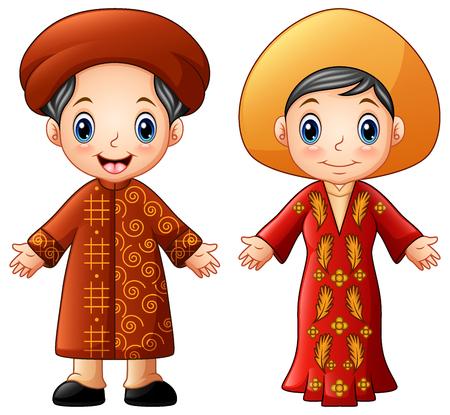 Cartoon Vietnam couple wearing traditional costumes Stock Photo