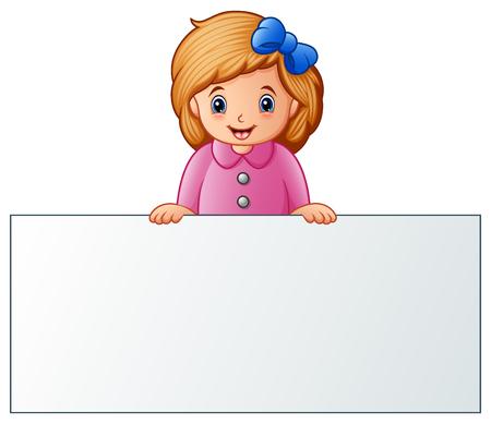 空白の看板の後ろにかわいい女の子