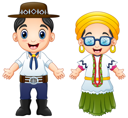 Cartoon Brazilians couple wearing traditional costumes
