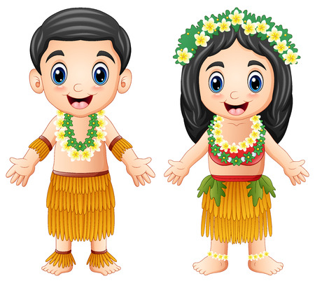 Cartoon Hawaiian couple wearing traditional costumes Stock Photo