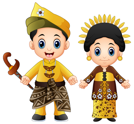 Cartoon malaysia couple wearing traditional costumes