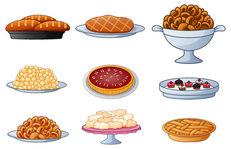 Vector illustration of Set of cartoon bread isolated on white background