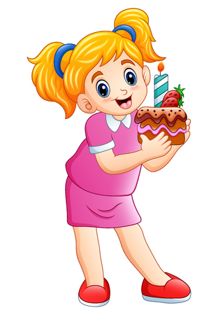 Vector illustration of Smiling little girl holding birthday cake isolated on white background