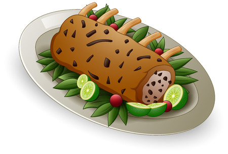 Vector illustration of Meat ribs with limes and berries on white plate Illustration