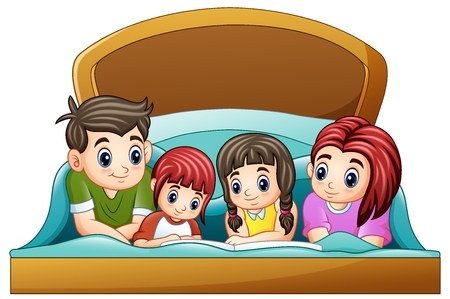 Vector illustration of Family reading a book to two daughter on bed on a white background Vectores