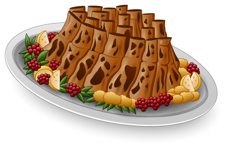 Vector illustration of Grilled spare ribs with lemon and berries on white plate Illustration