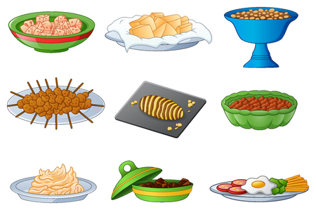 Vector illustration of Collection of traditional dinner meals Иллюстрация