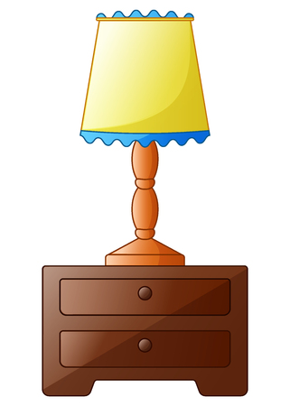 Wooden bedside table with lamp isolated on a white background Stock Photo
